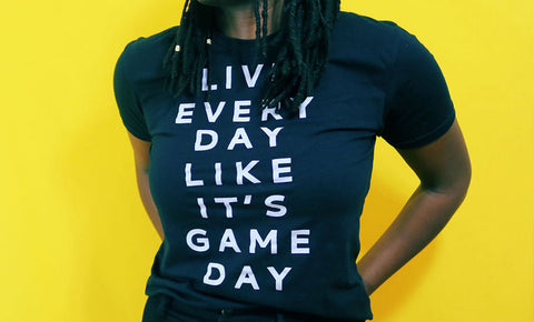 Playa Society - Live Every Day Like It's Gameday - Black T-shirt