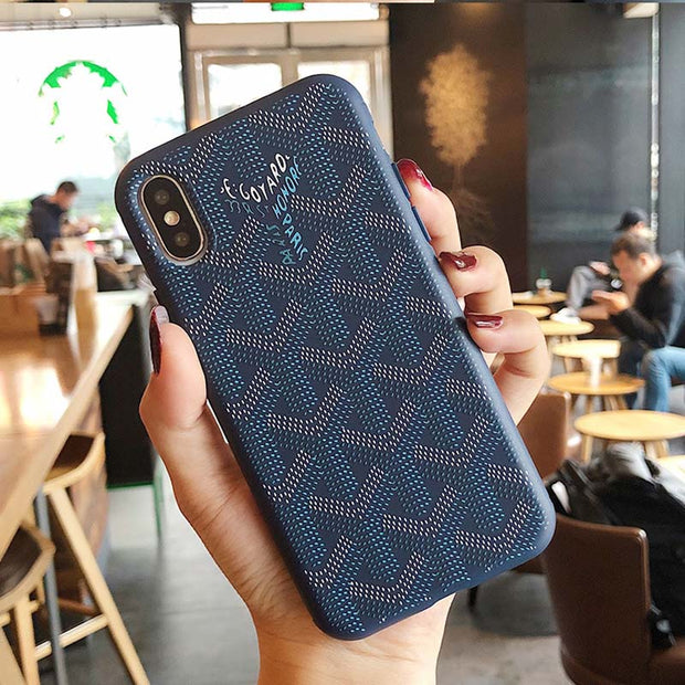 Embossed  Geometric Painting Phone Case For iPhone