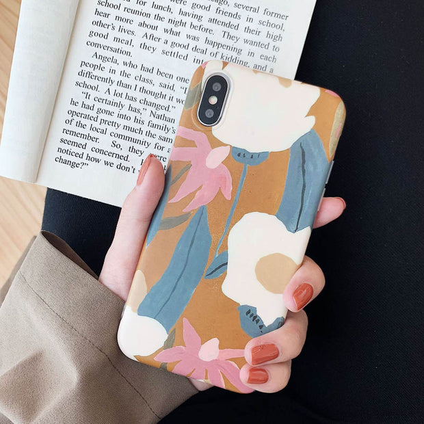 Retro Painted Flower Protective Phone Case For iPhone