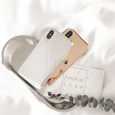 Silver Rose Gold Mirror Reflect Phone Case For iPhone