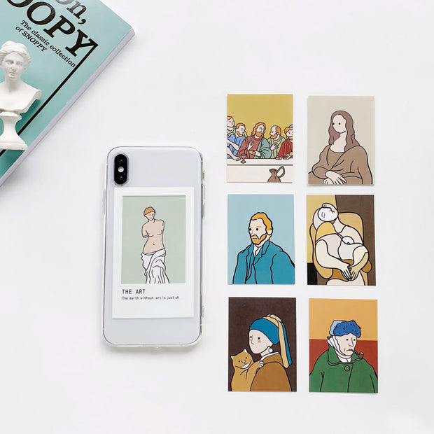 Cute Art Card Replaceable Transparent Phone Case For iPhone