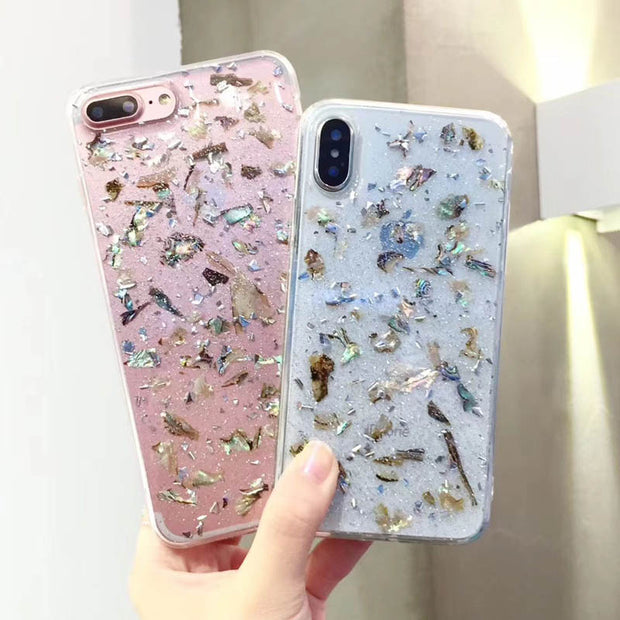 White Abalone Shell Foil Transparent Phone Case For iPhone
