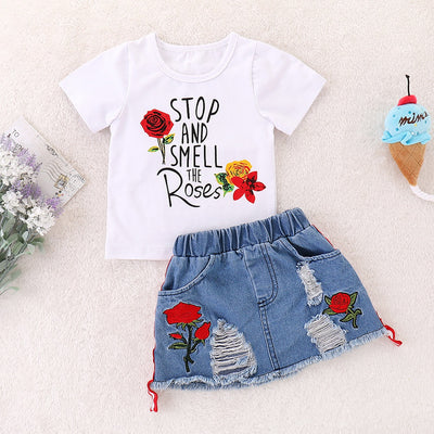 Rose Tee and Ripped Denim Skirt Set