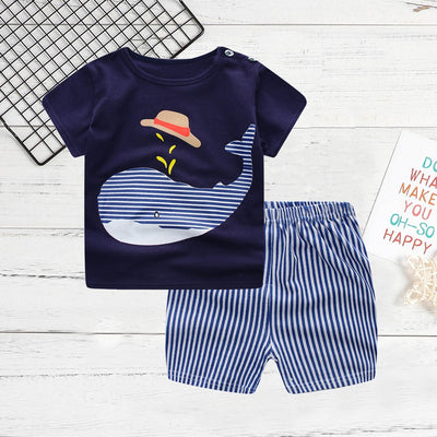 Boy's Whale Print Tee and Striped Shorts