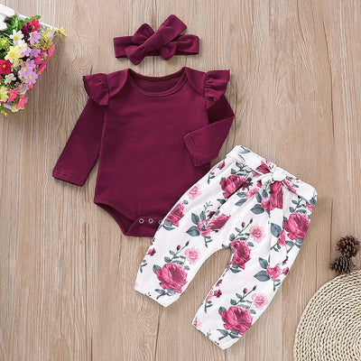 Ruffle Crimson Romper and Floral Pants with Headband for Baby Girl