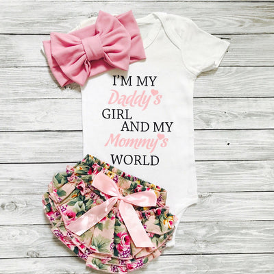 Letter Print Bodysuit, Floral Allover Shorts and Bow Headband for Baby Girl