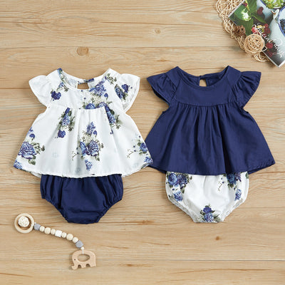 2-piece Flutter-sleeve Top and Shorts for Baby