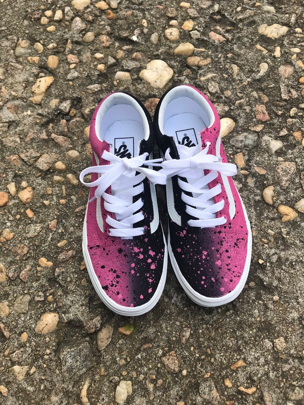 Black/Pink Splatter Shoes - Nextelect
