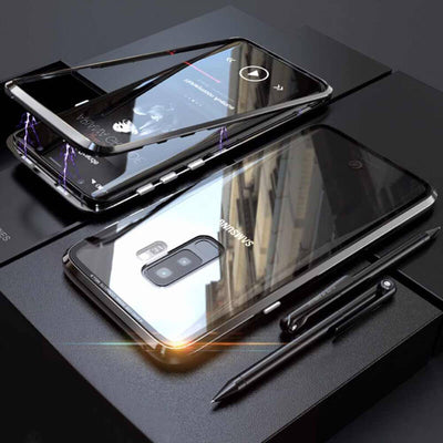 Magnetic Transparent Tempered Glass Phone Case