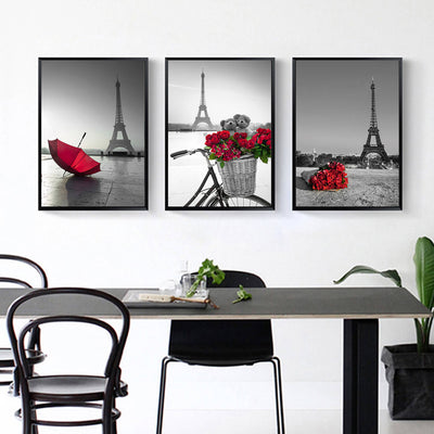 3 Pcs Eiffel Tower Frameless Wall Decoration Painting