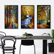 3pcs Creek In The Autumn Forest Frameless Painting