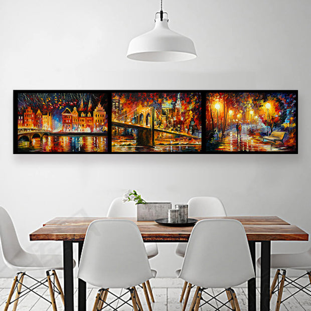3pcs City & Lover Frameless Painting