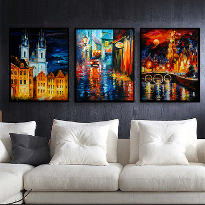 3pcs City Light & Shadow Frameless Painting