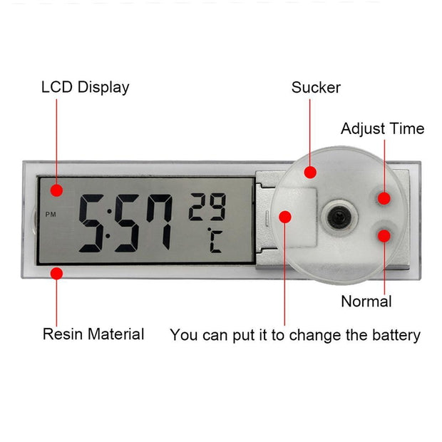 Car Suction Rectangle Digital Portable Clock - Nextelect