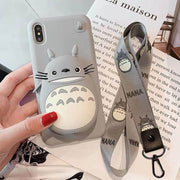 Cartoon Storage With Lanyard Phone Case For iPhone