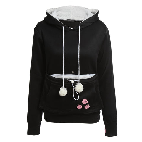 Animal Ear Hoodie With Pet Carrying Front Pocket