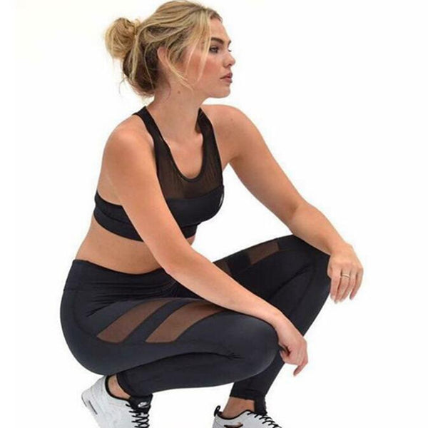 Thigh Stripe Mesh Leggings