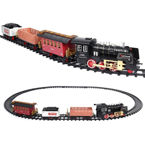 Classic Toy Train Set with Realistic Smoke and Sounds Full Set Train with Locomotive Engine and Cars Tracks