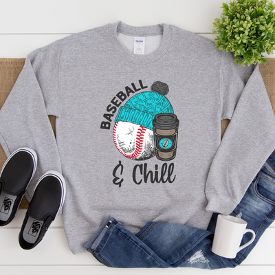 S - Baseball and Chill - Grey Sweater