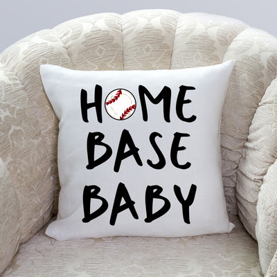 S - Home Base Baby (Baseball) Pillow Cover