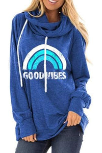 Good Vibes And Warm Beach Nights Cowl Neck Pullover- Multiple Colors