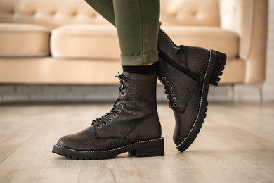 Conquest Snake Print Combat Boot