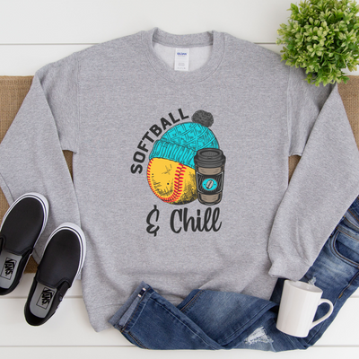 S - Softball and Chill - Grey Sweater