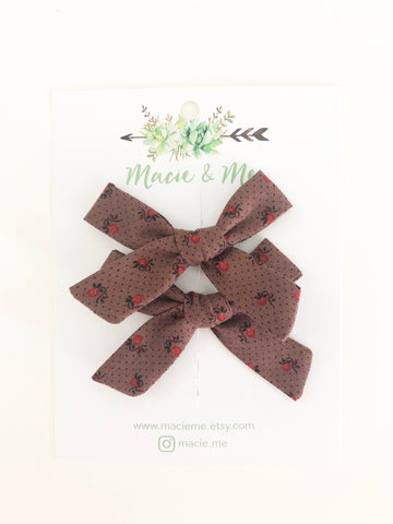 Eggplant Floral Small Schoolgirl Bow