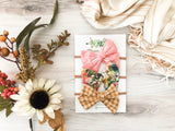 Pink Eyelet, Linen Floral, and Mustard Gingham Bows
