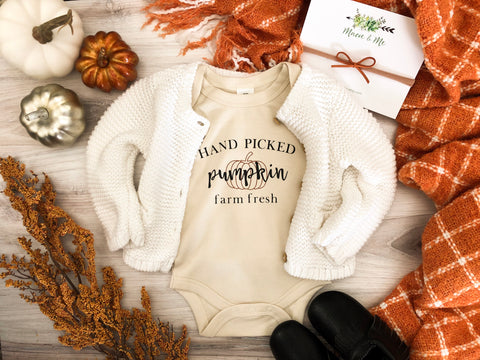 Long Sleeve Hand Picked Farm Fresh Pumpkin Organic Bodysuit