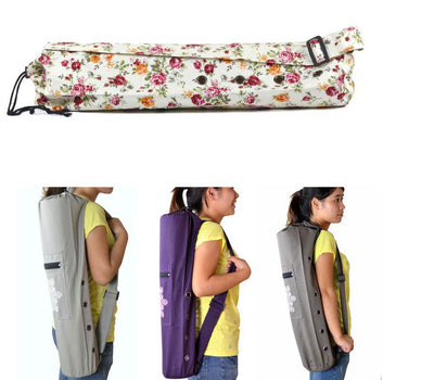 Yoga Pilates Fitness Excercise Canvas Mat Drawstring Carrier Backpack Bag 68x17cm