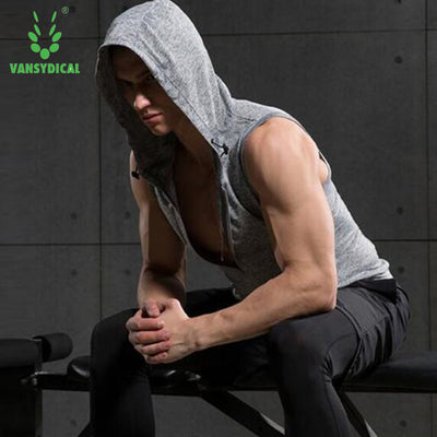 Mens Sports Fitness Gym Compression Hoodie Sleeveless Tank Shirt