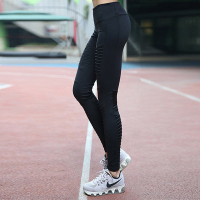 Womens Sportswear Yoga Pilates Fitness Pants Leggings Pleated Mesh Compression
