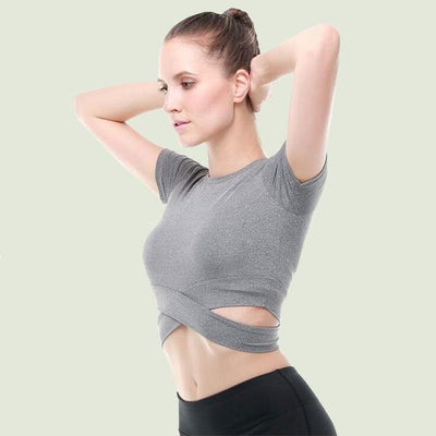 Womens Activewear Yoga Pilates Barre Ballet Fitness Quick Dry Short Sleeve Shirt Crop Top