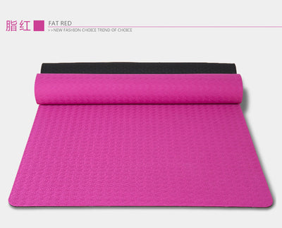 Non slip TPE Yoga Pilates Fitness mat dual color 71cm wide 6mm