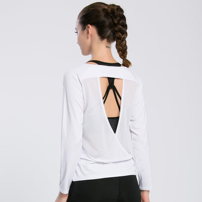 Womens Backless Sportswear Yoga Pilates Fitness Long Sleeved Shirt