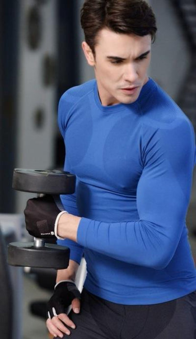 Mens Compression Long Sleeve Sports Gym Fitness Gym Shirt