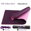 Non Slip TPE Yoga Pilates Fitness Mat Double Layers 6mm with Adjustable Strap and carry bag