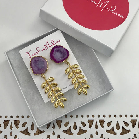 druzy crystal earrings with gold leaves