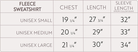Fleece Sweatshirt Size Chart