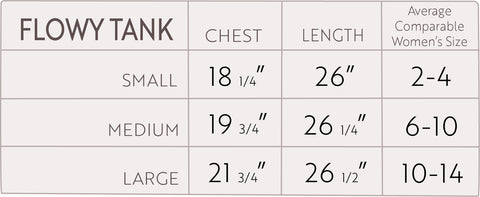 Flowy Tank size chart for best fit