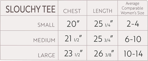 Slouchy Tee size chart