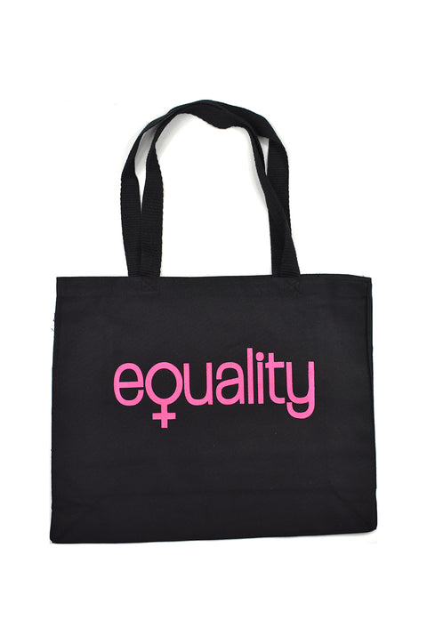 19th Amendment heavy black canvas side gusset shopping bag with pink hand-printed equality design representing women's equality. Donation goes to the Global Fund for Women. Buy One Give a Pair donation of socks to a shelter. Common Interest Clothing.