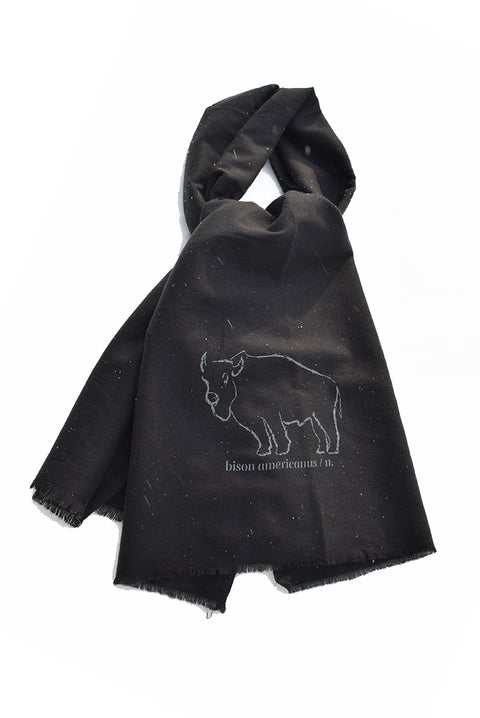 Bison Americanus scarf with gray hand-printed design of bison and Bison Americanus saying underneath of image. A pair of socks will be donated to a featured shelter through our Buy One, Give a Pair program. Common Interest Clothing.