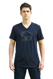 Bison Americanus black heather, short sleeve, v-neck tee, t-shirt with gray hand-printed design of bison and Bison Americanus saying underneath of image. A pair of socks will be donated to a featured shelter through our Buy One, Give a Pair program. Common Interest Clothing.