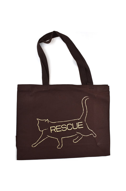 Bob chocolate canvas gusset bag with cream hand printed design of bob the cat with the word Rescue inside the image. Donation goes to the ASPCA. Buy One Give a Pair donation of socks to a featured shelter with every item sold. Common Interest Clothing.