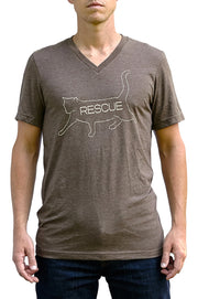 Bob heather brown, short sleeve, v-neck tee, t-shirt with cream hand printed design of bob the cat with the word Rescue inside the image. Donation goes to the ASPCA. Buy One Give a Pair donation of socks to a featured shelter with every item sold. Common Interest Clothing.