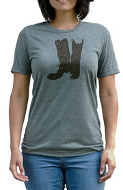 Boots deep heather, short sleeve, crew neck tee, t-shirt with chocolate hand-printed design of cowboy boots. A pair of socks will be donated to a featured shelter through our Buy One, Give a Pair program with every item purchased. Common Interest Clothing.
