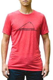 Coaster heather red, short sleeve, crew neck tee, t-shirt with black hand-printed design of a roller coaster with cars ascending the hill to drop and the words Common Interest Clothing along the bottom. A pair of socks will be donated to a featured shelter through our Buy One, Give a Pair program with every item purchased. Common Interest Clothing.
