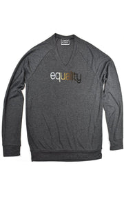 Color blind dark gray heather lightweight v-neck sweater with skin color blended hand-print of the word equality for racial equality. Donation goes to the Equal Justice Initiative. Buy One Give a Pair donation of socks to a featured shelter with every item sold. Common Interest Clothing